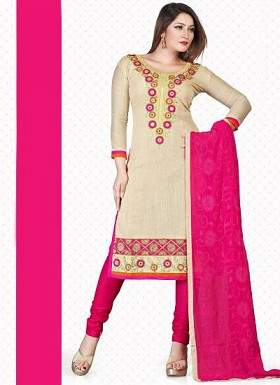 New Cream & Pink Pure Banarasi Dress Material @ Rs1235.00