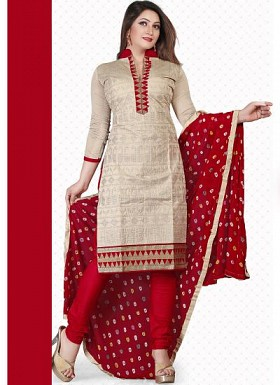 New Cream & Red Pure Chanderi Dress Material@ Rs.1235.00
