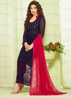 New Dark Blue & Pink Nazneen Chiffon Dress Material @ Rs1606.00