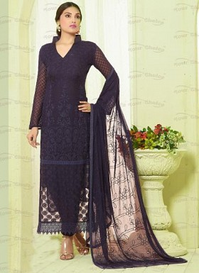 New Dark Blue Nazneen Chiffon Designer Dress Material @ Rs1606.00