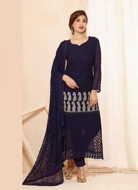 New Dark Blue Nazneen Chiffon Designer Dress Material @ Rs1421.00