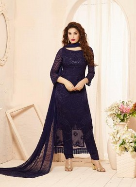 New Dark Blue Nazneen Chiffon Dress Material@ Rs.1421.00
