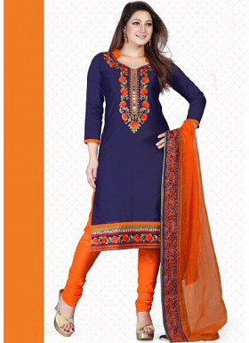 vandv New Dark Blue & Orange Pure Cotton Dress Material @ Rs1359.00