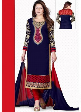 vandv New Dark Blue & Red Pure Cotton Dress Material @ Rs1235.00