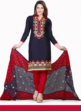 vandv New Dark Blue & Red Pure Cotton Dress Material @ Rs1359.00