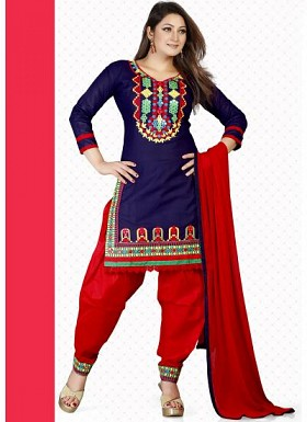 New Dark Blue & Red Pure Cotton Dress Material @ Rs1235.00