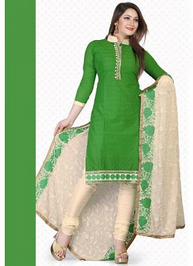 New Green & Cream Chicken Cotton Dress Material @ Rs1235.00