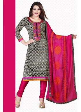 New Gray & Pink Pure Cotton Dress Material @ Rs1235.00