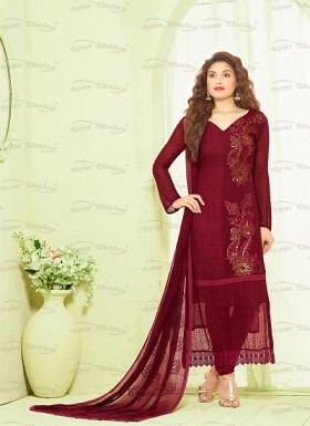 New Maroon Nazneen Chiffon Designer Dress Material@ Rs.1606.00