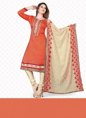 New Orange & Cream Pure Chanderi Dress Material@ Rs.1235.00