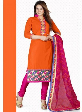vandv New Orange & Magenta Cotton Dress Material @ Rs1359.00