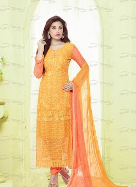 New Orange & Red Nazneen Chiffon Designer Dress Material Buy Rs.1606.00
