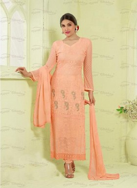 New Peach Nazneen Chiffon Designer Dress Material Buy Rs.1606.00