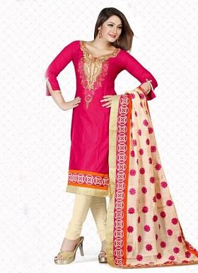 New Pink & Cream Satin Cotton Dress Material @ Rs1235.00