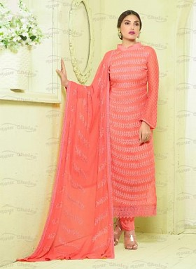 New Pink Nazneen Chiffon Designer Dress Material@ Rs.1606.00