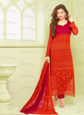 New Red & Maroon Nazneen Chiffon Designer Dress Material @ Rs1606.00