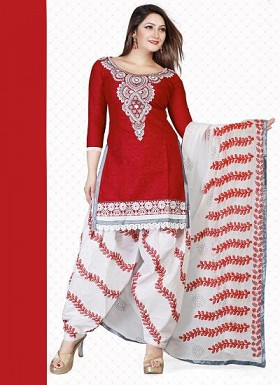 New Red & White Pure Cotton Jacquard Dress Material @ Rs1359.00
