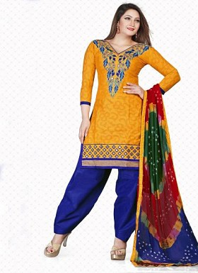 New Yellow & Blue Pure Jacquard Cotton Dress Material@ Rs.1235.00
