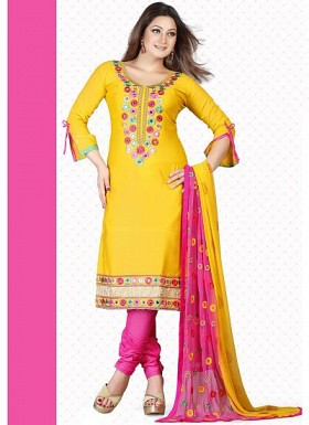 New Yellow & Pink Satin Dress Material @ Rs1235.00