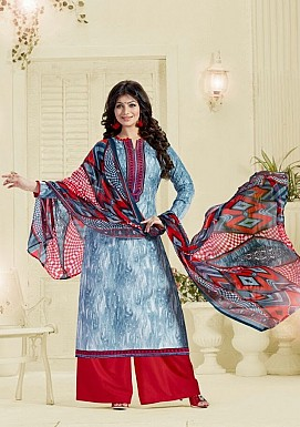 Designer unstitched Lawn cotton embroidered straight suit@ Rs.1175.00