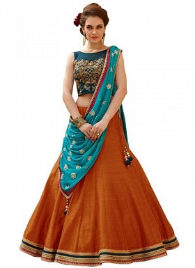 New Banglori Silk Blue And Orange Lehegha Choli@ Rs.1235.00