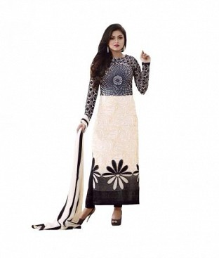 Panchi Printed Polycotton Black and White Dress Materials @ Rs329.00