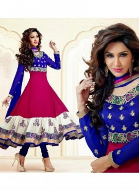Beautiful pink Patiyal Embroidery Designer Salwar Suit@ Rs.853.00