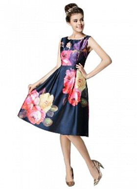 Vandvshop New Dark Blue Faux Georgette Printed Western Dress @ Rs1297.00