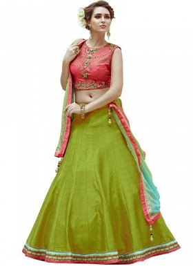 New Fancy Banglori Silk Red And Parrot Green Lehengha Choli@ Rs.1235.00