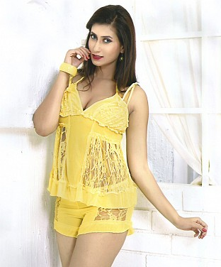 2-PC Baby Doll  Sexy Lingerie Sleepwear Dress @ Rs979.00