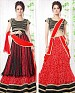 Thankar Latest Ocaasional Red and Black Indo western style lahenga choli @ 43% OFF Rs 1853.00 Only FREE Shipping + Extra Discount - Velvet With Net Brasso, Buy Velvet With Net Brasso Online, Semi-stitched, Lehnga, Buy Lehnga,  online Sabse Sasta in India - Semi Stitched Anarkali Style Suits for Women - 3217/20150925