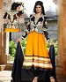 New fancy orange black Anarkali Suit @ 54% OFF Rs 1144.00 Only FREE Shipping + Extra Discount - Georgette, Buy Georgette Online, dress material, Salwar Suit, Buy Salwar Suit,  online Sabse Sasta in India - Semi Stitched Anarkali Style Suits for Women - 3093/20150925