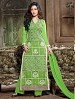 THANKAR LATEST EMBROIDERED DESIGNER GREEN STRAIGHT SUITS @ 44% OFF Rs 1606.00 Only FREE Shipping + Extra Discount - Suit, Buy Suit Online, Semi Stitched, Net, Buy Net,  online Sabse Sasta in India - Semi Stitched Anarkali Style Suits for Women - 3382/20150925