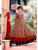 THANKAR ATTRACTIVE NET BRASSO DESIGNER RED & BLACK ANARKALI SUITS @ 59% OFF Rs 1112.00 Only FREE Shipping + Extra Discount - Anarkali Suits, Buy Anarkali Suits Online, Santoon, Brasso With Net, Buy Brasso With Net,  online Sabse Sasta in India - Semi Stitched Anarkali Style Suits for Women - 3435/20150925