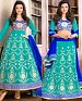 DESIGNER SKY AND BLUE ANARKALI SUIT @ 31% OFF Rs 1915.00 Only FREE Shipping + Extra Discount - Georgette, Buy Georgette Online, Semi-stitched, Anarkali suit, Buy Anarkali suit,  online Sabse Sasta in India - Salwar Suit for Women - 4269/20151020