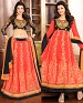 DESIGNER BLACK AND ORANGE ANARKALI SUIT @ 31% OFF Rs 1915.00 Only FREE Shipping + Extra Discount - Georgette, Buy Georgette Online, Semi-stitched, Anarkali suit, Buy Anarkali suit,  online Sabse Sasta in India - Salwar Suit for Women - 4272/20151020