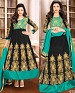 DESIGNER BLACK AND AQUA ANARKALI SUIT @ 31% OFF Rs 1915.00 Only FREE Shipping + Extra Discount - Georgette, Buy Georgette Online, Semi-stitched, Anarkali suit, Buy Anarkali suit,  online Sabse Sasta in India -  for  - 4274/20151020
