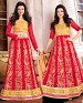 DESIGNER RED AND CREAM ANARKALI SUIT @ 31% OFF Rs 1915.00 Only FREE Shipping + Extra Discount - Faux Georgette, Buy Faux Georgette Online, Semi-stitched, Anarkali suit, Buy Anarkali suit,  online Sabse Sasta in India -  for  - 4275/20151020