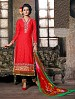 THANKAR RED COTTON JAQUARD PARTY WEAR STRAIGHT SUIT @ 31% OFF Rs 1668.00 Only FREE Shipping + Extra Discount - COTTON JAQUARD SUIT, Buy COTTON JAQUARD SUIT Online, Semi-stitched Suit, Straight suit, Buy Straight suit,  online Sabse Sasta in India - Salwar Suit for Women - 5960/20160112