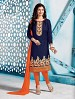 Thankar Cotton Embroidered Designer Navy Blue Straight Suits @ 31% OFF Rs 1050.00 Only FREE Shipping + Extra Discount - Cotton Suit, Buy Cotton Suit Online, Semi-stitched Suit, Straight suit, Buy Straight suit,  online Sabse Sasta in India - Salwar Suit for Women - 6064/20160114