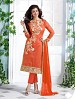 Heavy Orange Chanderi Cotton Salwar Kameez @ 31% OFF Rs 1050.00 Only FREE Shipping + Extra Discount - Cotton Suit, Buy Cotton Suit Online, Semi-stitched Suit, Straight suit, Buy Straight suit,  online Sabse Sasta in India - Salwar Suit for Women - 6349/20160210