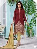 Heavy Maroon Chanderi Cotton Salwar Kameez @ 31% OFF Rs 1050.00 Only FREE Shipping + Extra Discount - Cotton Suit, Buy Cotton Suit Online, Semi-stitched Suit, Straight suit, Buy Straight suit,  online Sabse Sasta in India - Salwar Suit for Women - 6357/20160210