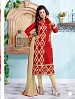 Heavy Red Chanderi Cotton Salwar Kameez @ 31% OFF Rs 1050.00 Only FREE Shipping + Extra Discount - Cotton Suit, Buy Cotton Suit Online, Semi-stitched Suit, Straight suit, Buy Straight suit,  online Sabse Sasta in India -  for  - 6362/20160210