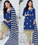 BLUE AND CREAM EMBROIDERED COTTON JEQUARD DRESS MATEIRIAL @ 31% OFF Rs 1050.00 Only FREE Shipping + Extra Discount - suits, Buy suits Online, STRAIGHT SUIT, cotton suits, Buy cotton suits,  online Sabse Sasta in India - Salwar Suit for Women - 9691/20160520