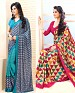 THANKAR COMBO ONE AQUA PRINTED SAREE AND PINK PRINTED SAREE @ 31% OFF Rs 1977.00 Only FREE Shipping + Extra Discount - Saree, Buy Saree Online, Printed, Crepe, Buy Crepe,  online Sabse Sasta in India - Sarees for Women - 3646/20150925