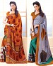 THANKAR COMBO ONE ORANGE PRINTED SAREE AND GREY PRINTED SAREE @ 31% OFF Rs 1977.00 Only FREE Shipping + Extra Discount - Saree, Buy Saree Online, Printed, Crepe, Buy Crepe,  online Sabse Sasta in India - Sarees for Women - 3649/20150925