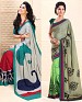 THANKAR COMBO ONE GREY PRINTED SAREE AND PARROT PRINTED SAREE @ 31% OFF Rs 1977.00 Only FREE Shipping + Extra Discount - Saree, Buy Saree Online, Printed, Crepe, Buy Crepe,  online Sabse Sasta in India - Sarees for Women - 3651/20150925