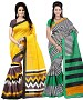 COMBO ONE YELLOW & BROWN PRINTED SAREE AND MULTY PRINTED SAREE @ 31% OFF Rs 926.00 Only FREE Shipping + Extra Discount - BHAGALPURI SILK, Buy BHAGALPURI SILK Online, Designer Saree, Combo Deal, Buy Combo Deal,  online Sabse Sasta in India - Sarees for Women - 9600/20160520