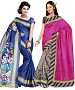 COMBO ONE BLUE PRINTED SAREE AND PINK & GREY PRINTED SAREE @ 31% OFF Rs 926.00 Only FREE Shipping + Extra Discount - BHAGALPURI SILK, Buy BHAGALPURI SILK Online, Designer Saree, Combo Deal, Buy Combo Deal,  online Sabse Sasta in India - Sarees for Women - 9606/20160520