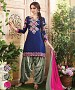 EMBROIDERED NAVY BLUE AND GREY PATIYALA STYLE SALWAR KAMEEZ @ 31% OFF Rs 1235.00 Only FREE Shipping + Extra Discount - Cotton Suit, Buy Cotton Suit Online, Patiala Suit, Semi Stiched Suit, Buy Semi Stiched Suit,  online Sabse Sasta in India -  for  - 9379/20160520
